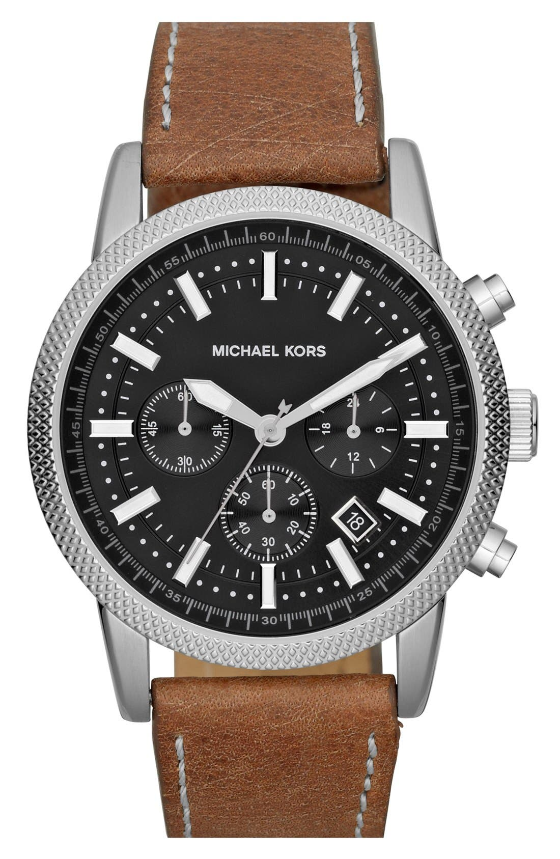 Main Image - Michael Kors 'Scout' Chronograph Leather Strap Watch, 43mm