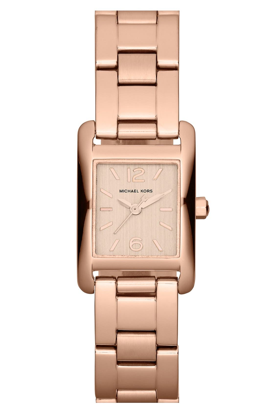 Main Image - Michael Kors 'Taylor - Mini' Rectangular Bracelet Watch, 20mm x 22mm