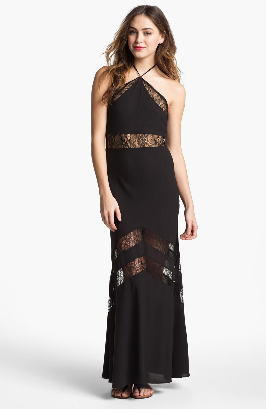 Alternate Image 1 Selected - Lovers + Friends 'Tonight' Lace Inset Maxi Dress
