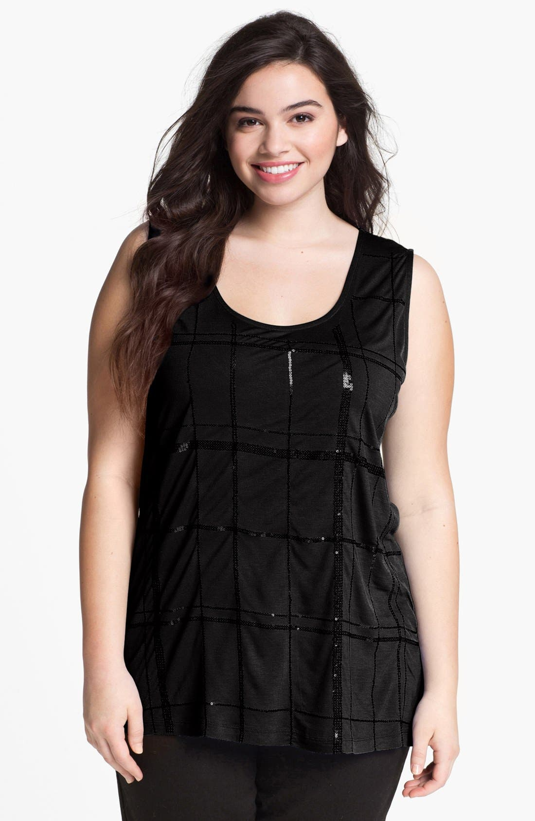 Alternate Image 1 Selected - Kische Embellished Mixed Media Tank (Plus Size)