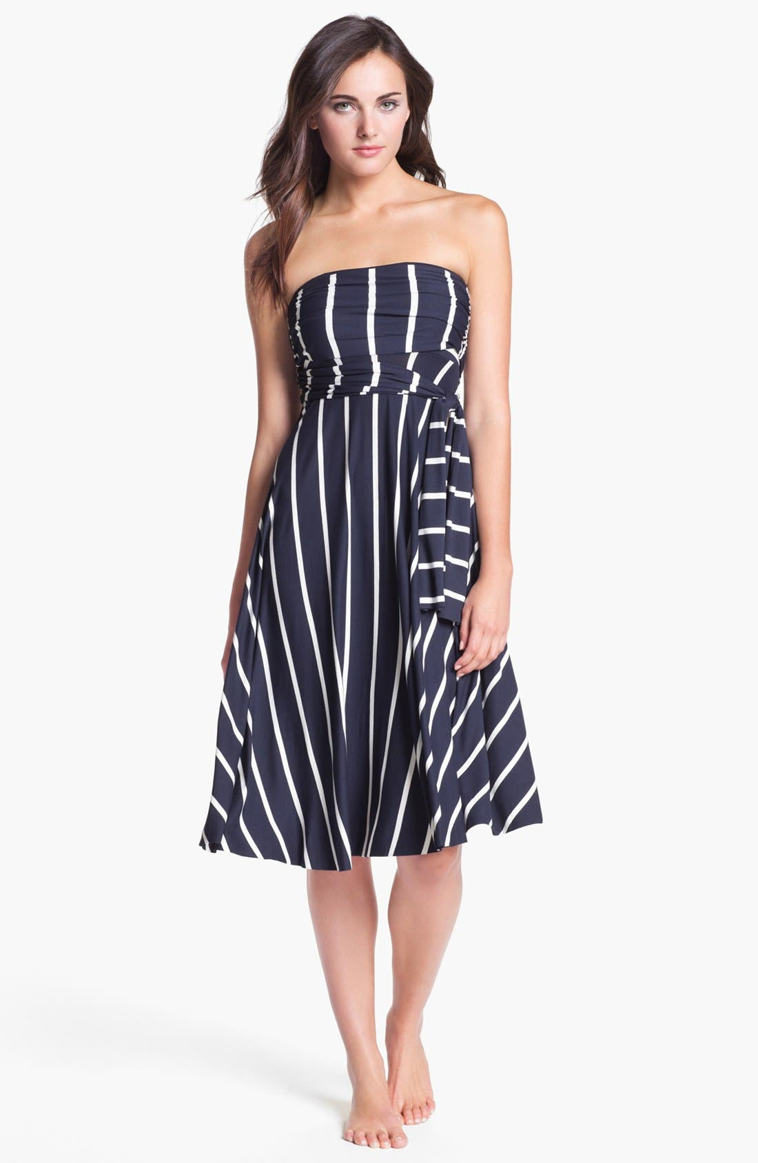 Stripe Convertible Cover-Up Dress,                         Main,                         color, Navy/ White Stripe