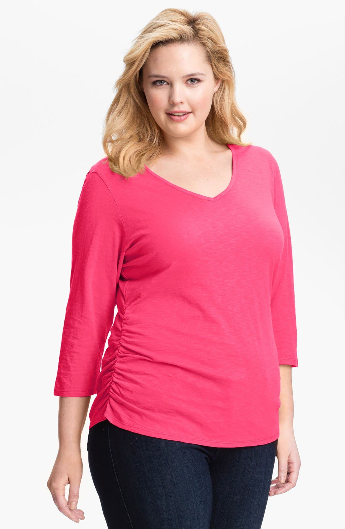 Alternate Image 1 Selected - Sejour Ruched Cotton Tee (Plus Size)