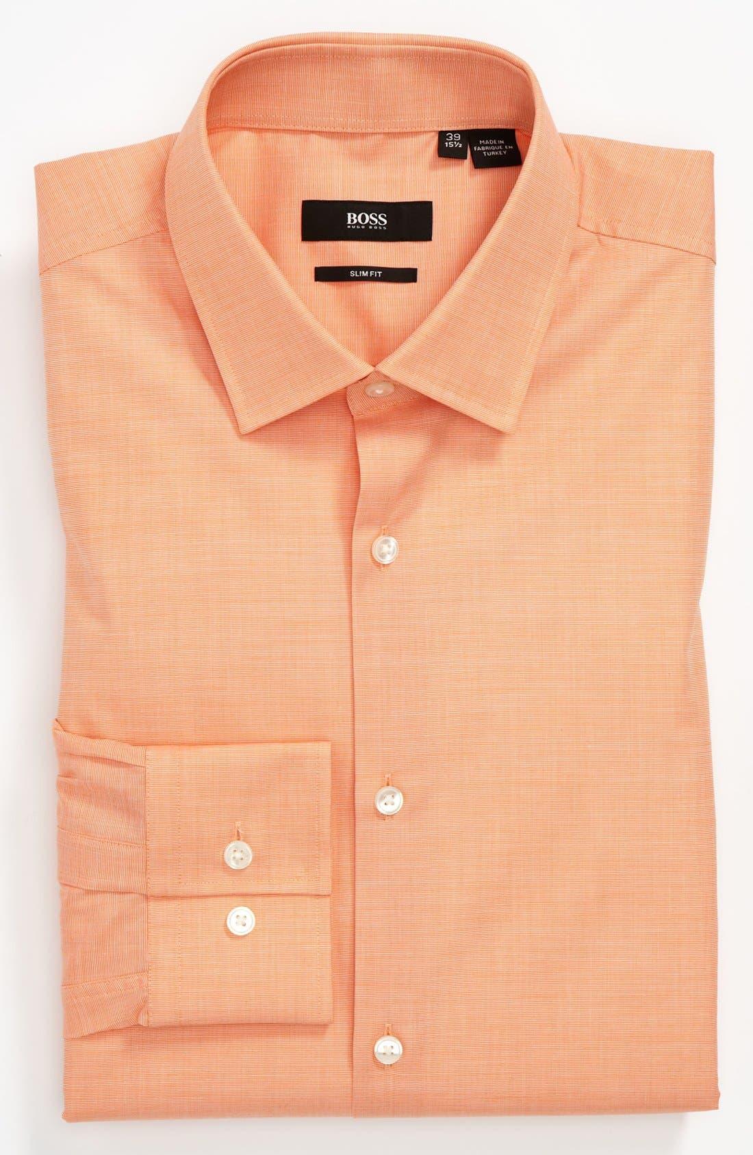 HUGO BOSS Slim Fit Dress Shirt,                         Main,                         color, Orange