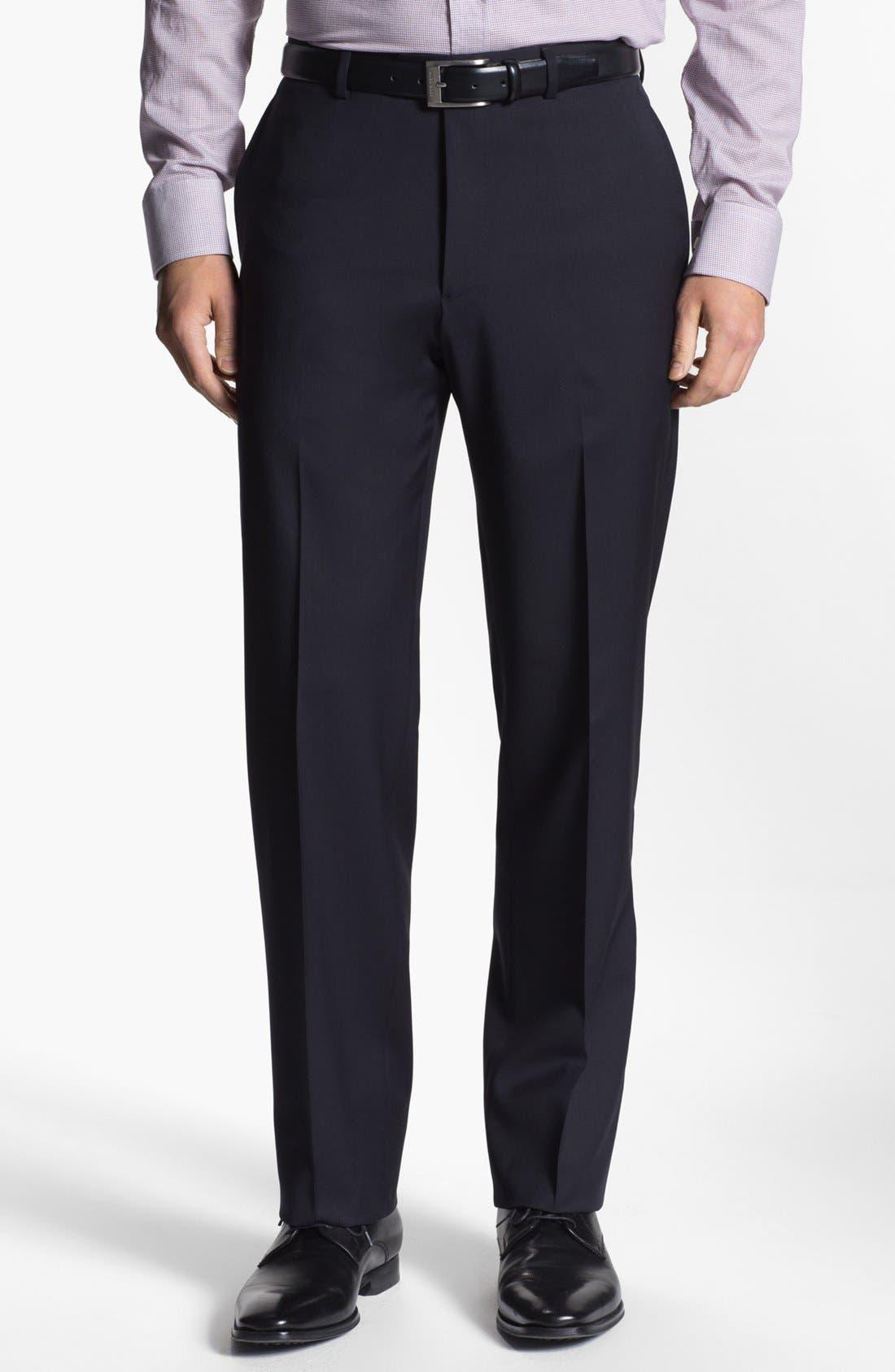 Main Image - Armani Collezioni Flat Front Wool Trousers