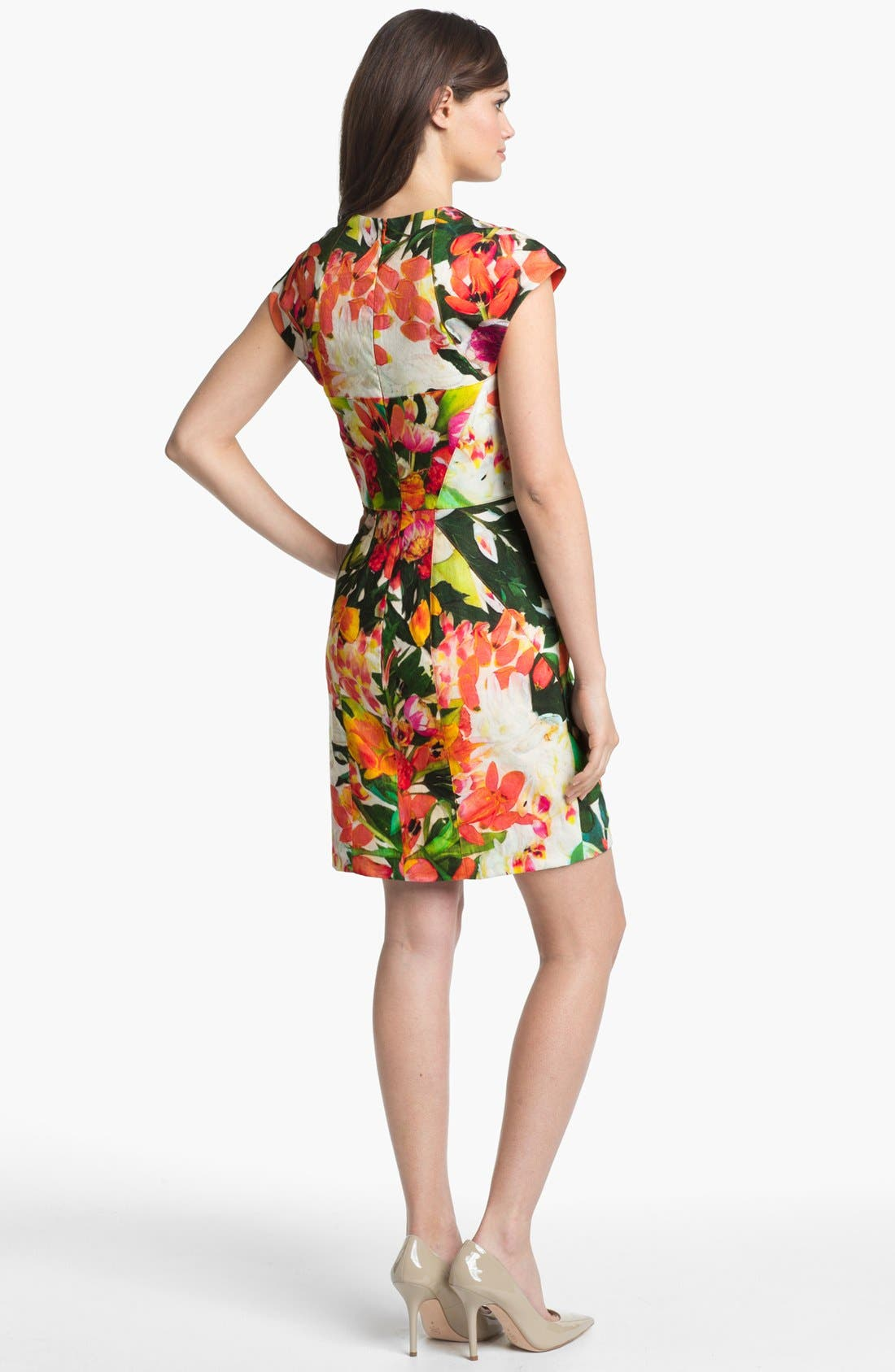 Alternate Image 2  - Nicole Miller Floral Print Seamed Sheath Dress