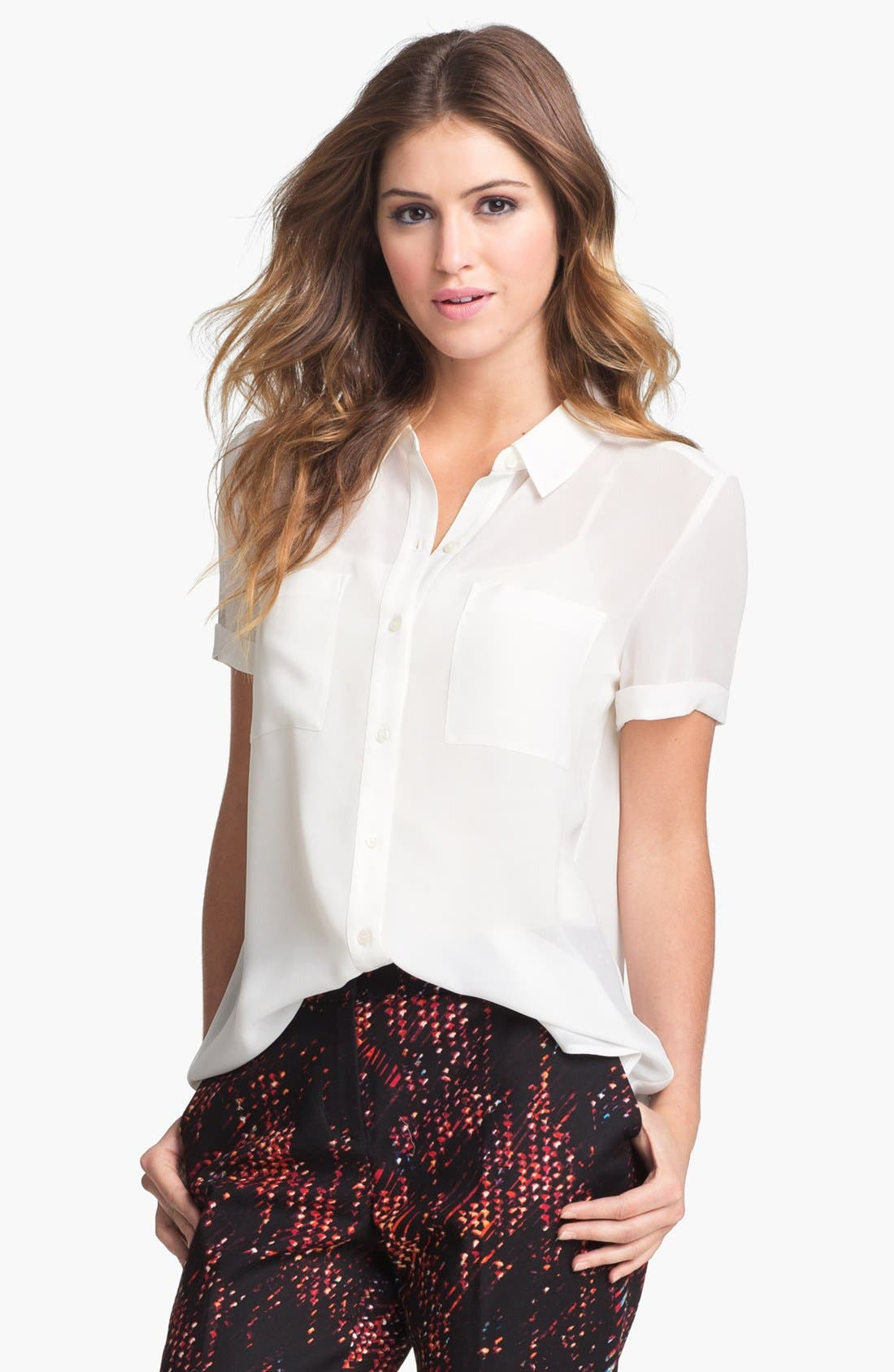 Alternate Image 1 Selected - Halogen® Short Sleeve Collared Shirt