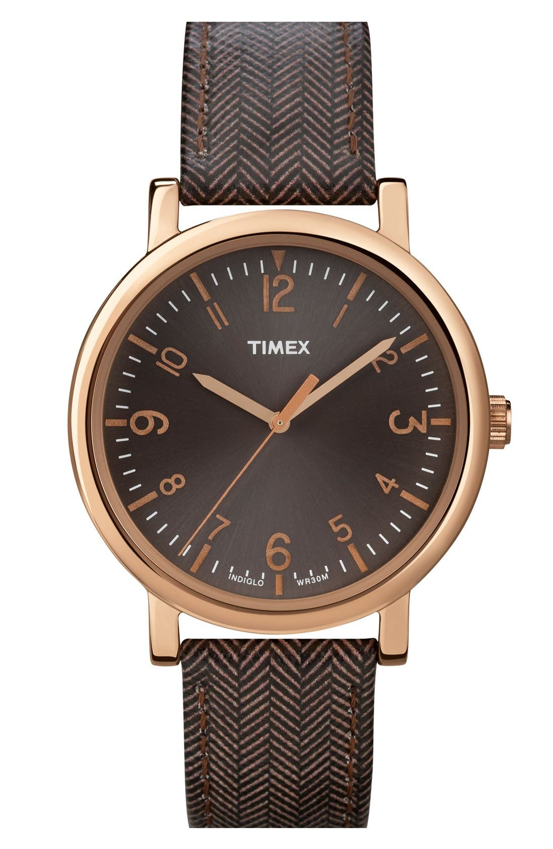 Round Tweed Print Leather Strap Watch, 38mm,                         Main,                         color, Brown/ Rose Gold