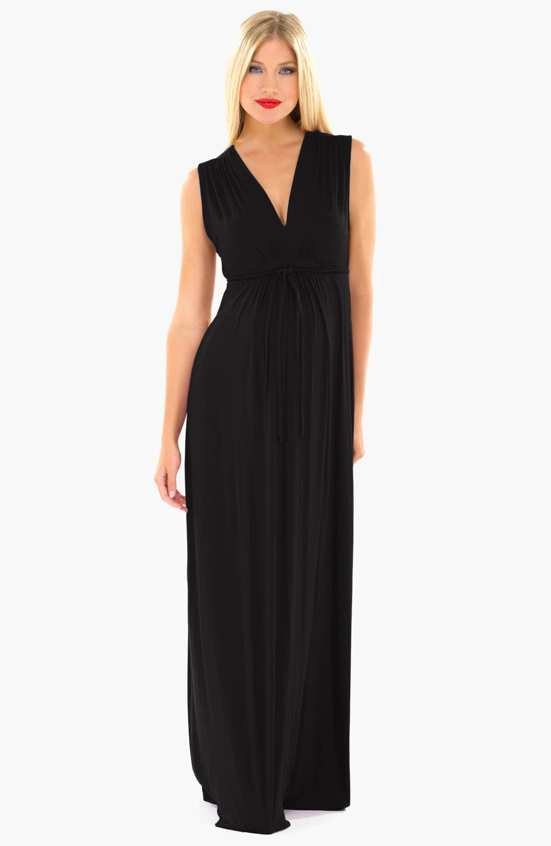 Lucy Maternity Maxi Dress,                         Main,                         color, Black