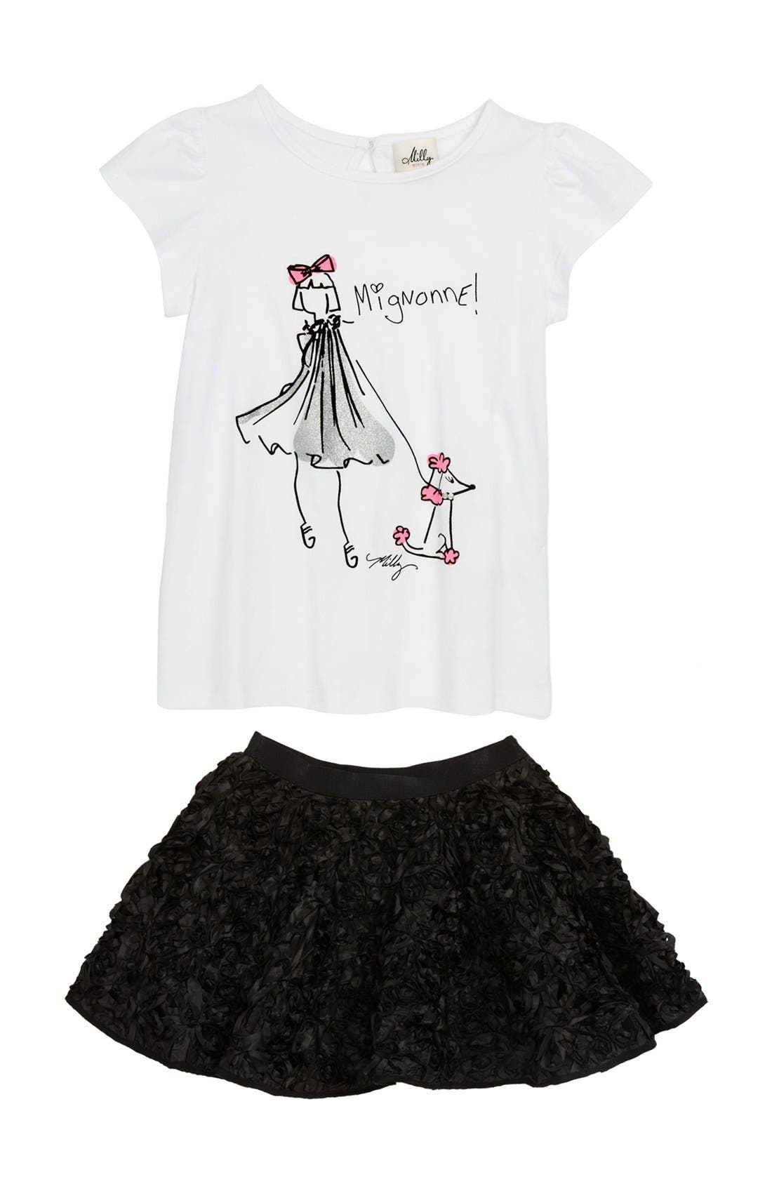 Alternate Image 1 Selected - Milly Minis Tee & Skirt (Little Girls & Big Girls)
