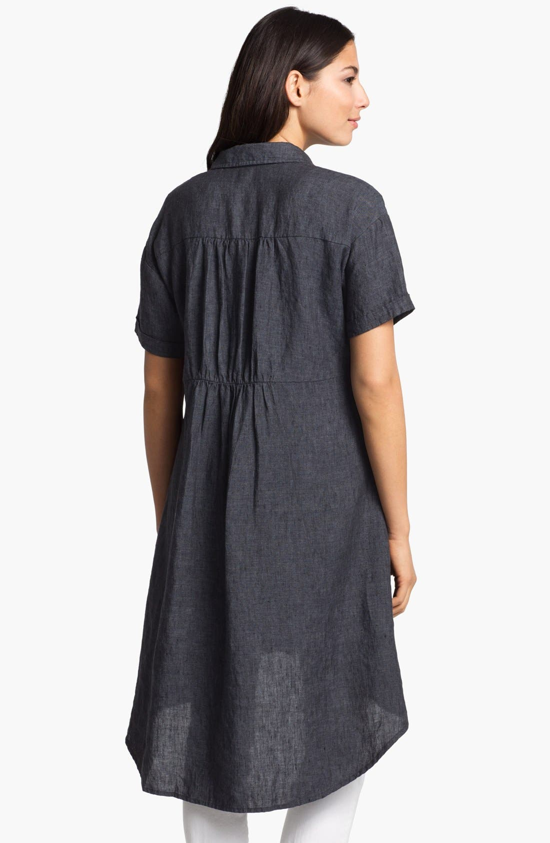 Alternate Image 3  - Eileen Fisher High/Low Linen Shirtdress