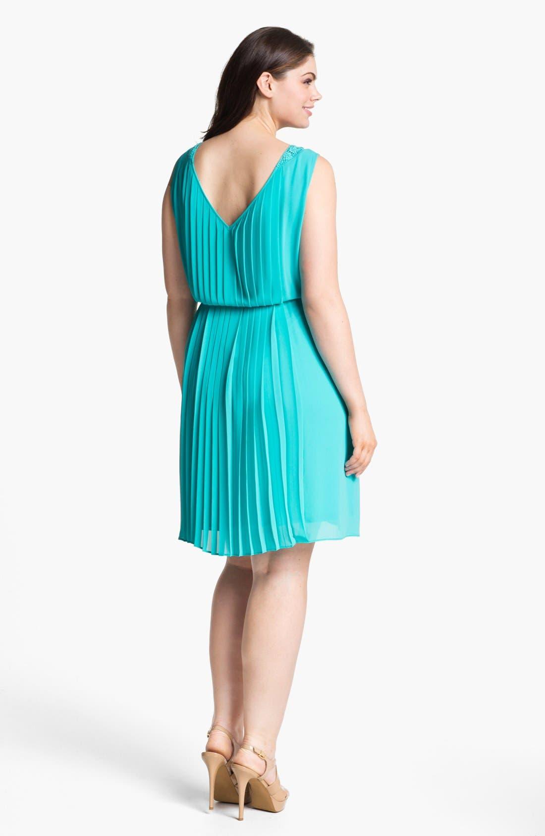 Pleated Dress,                             Alternate thumbnail 2, color,                             Bluebird