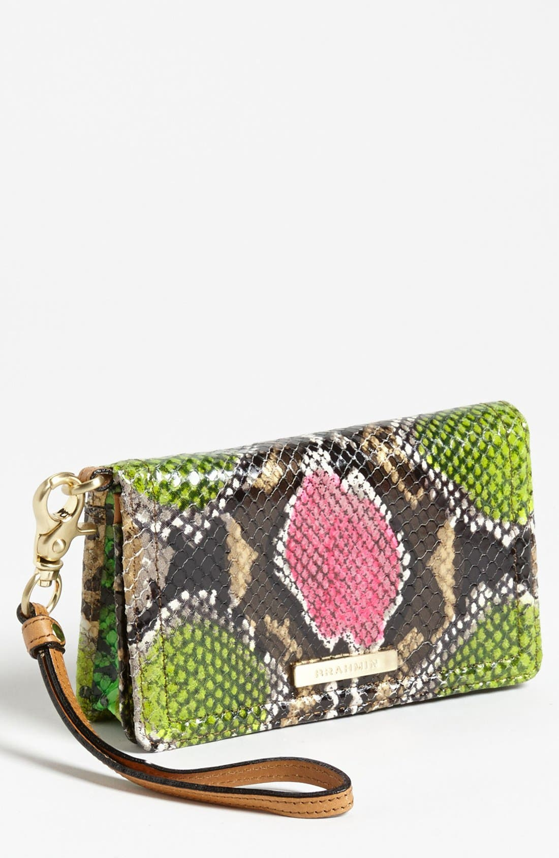Main Image - Brahmin 'Debi' Anaconda Embossed Leather Wristlet