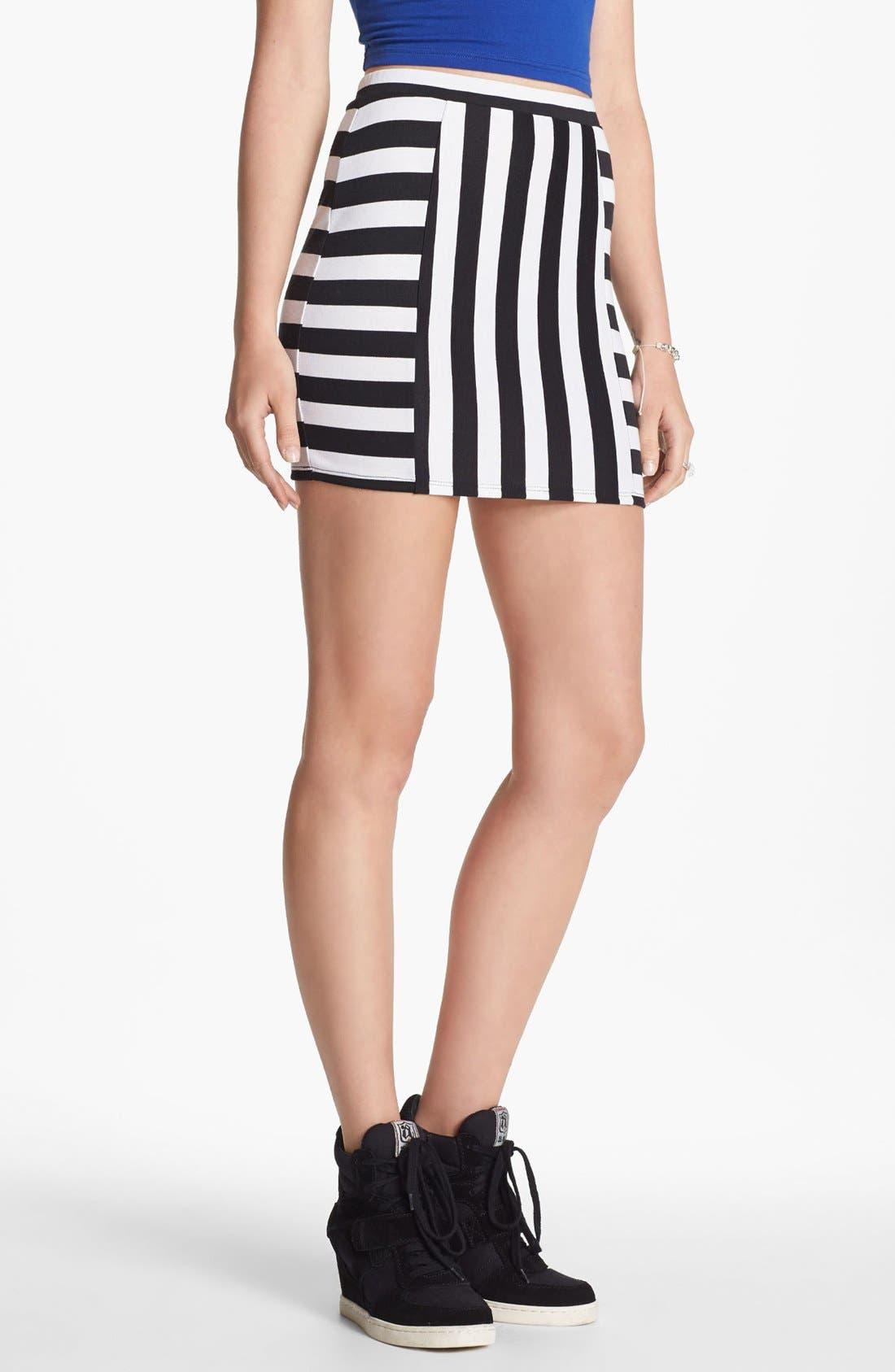 Main Image - Soprano Mod Stripe Body-Con Skirt (Juniors)