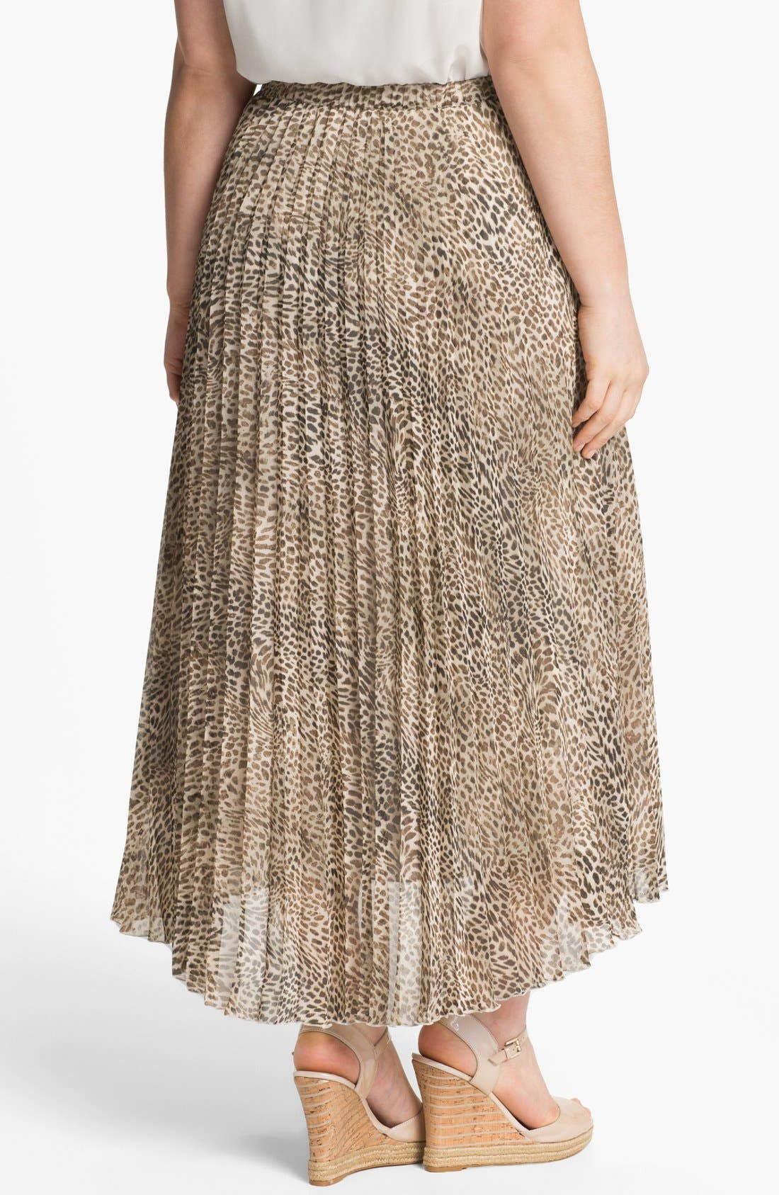 Alternate Image 2  - Vince Camuto Cheetah Print Chiffon Skirt (Plus Size)