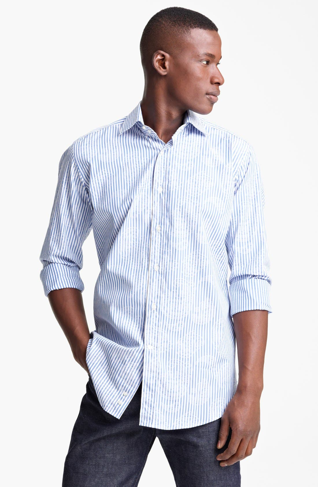 Alternate Image 1 Selected - Etro Stripe Paisley Print Cotton Sport Shirt