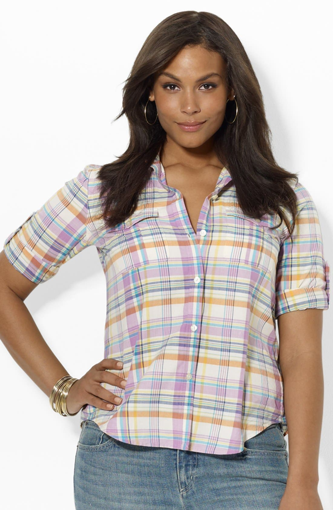 Alternate Image 1 Selected - Lauren Ralph Lauren Fitted Print Shirt (Plus Size)