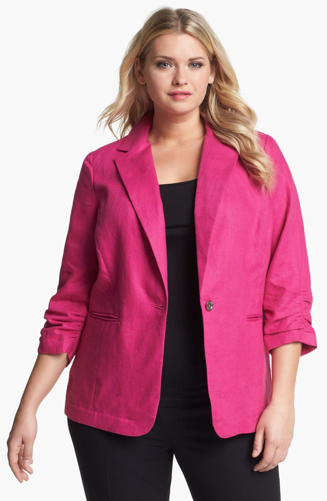 Alternate Image 1 Selected - MICHAEL Michael Kors Shirred Linen Jacket (Plus)
