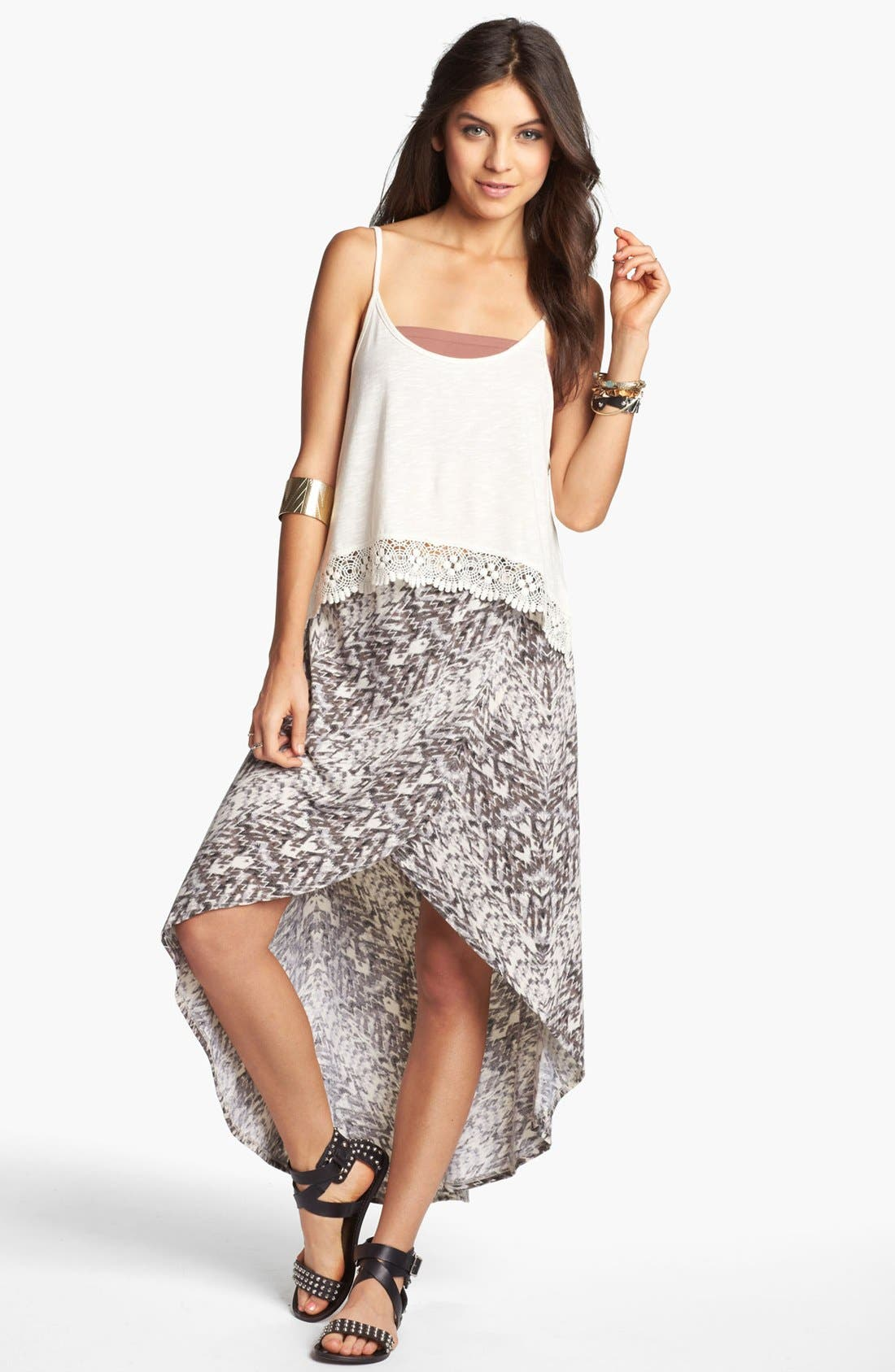 Alternate Image 1 Selected - Lily White High/Low Print Faux Wrap Skirt (Juniors)