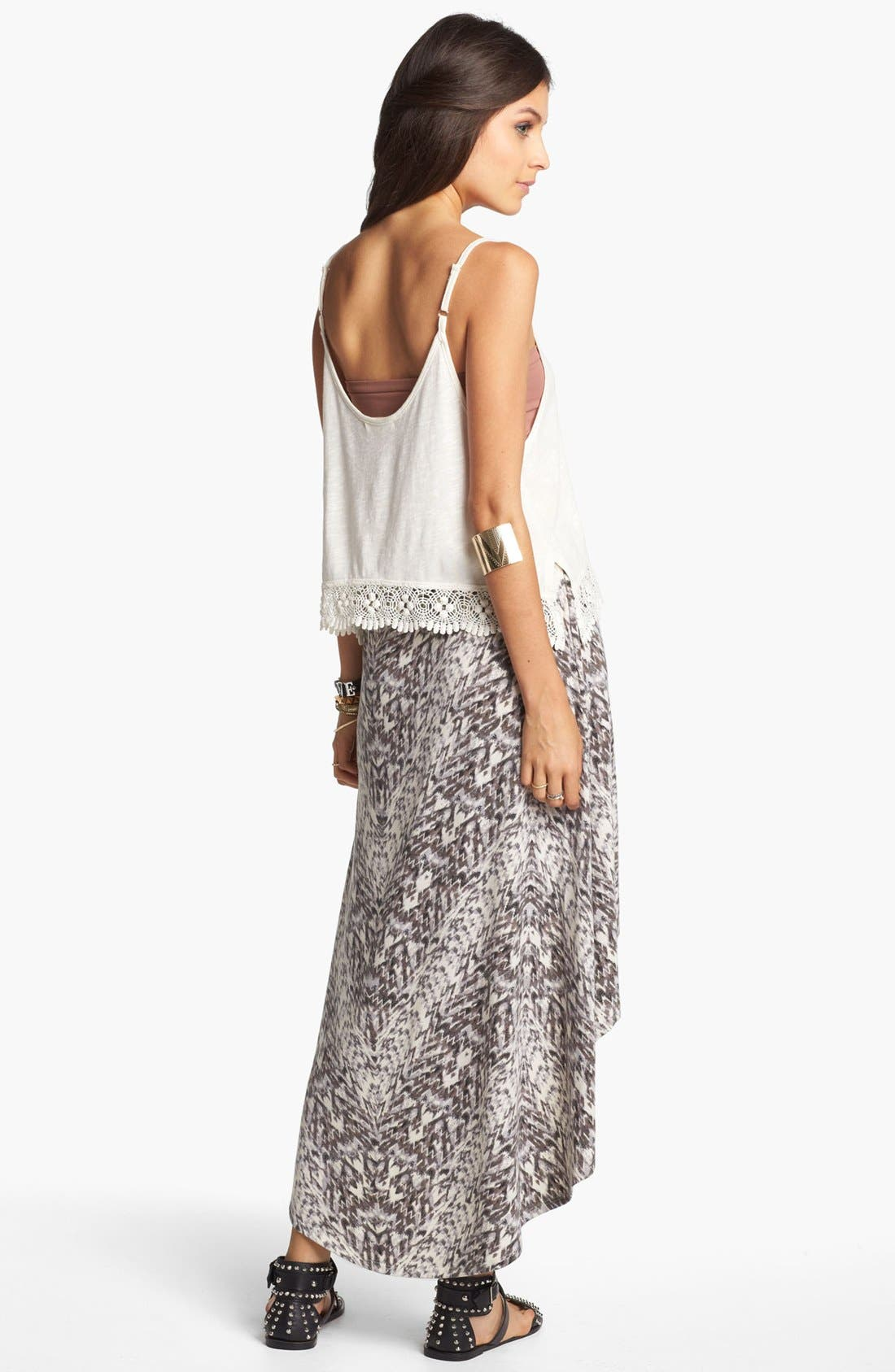 Alternate Image 2  - Lily White High/Low Print Faux Wrap Skirt (Juniors)