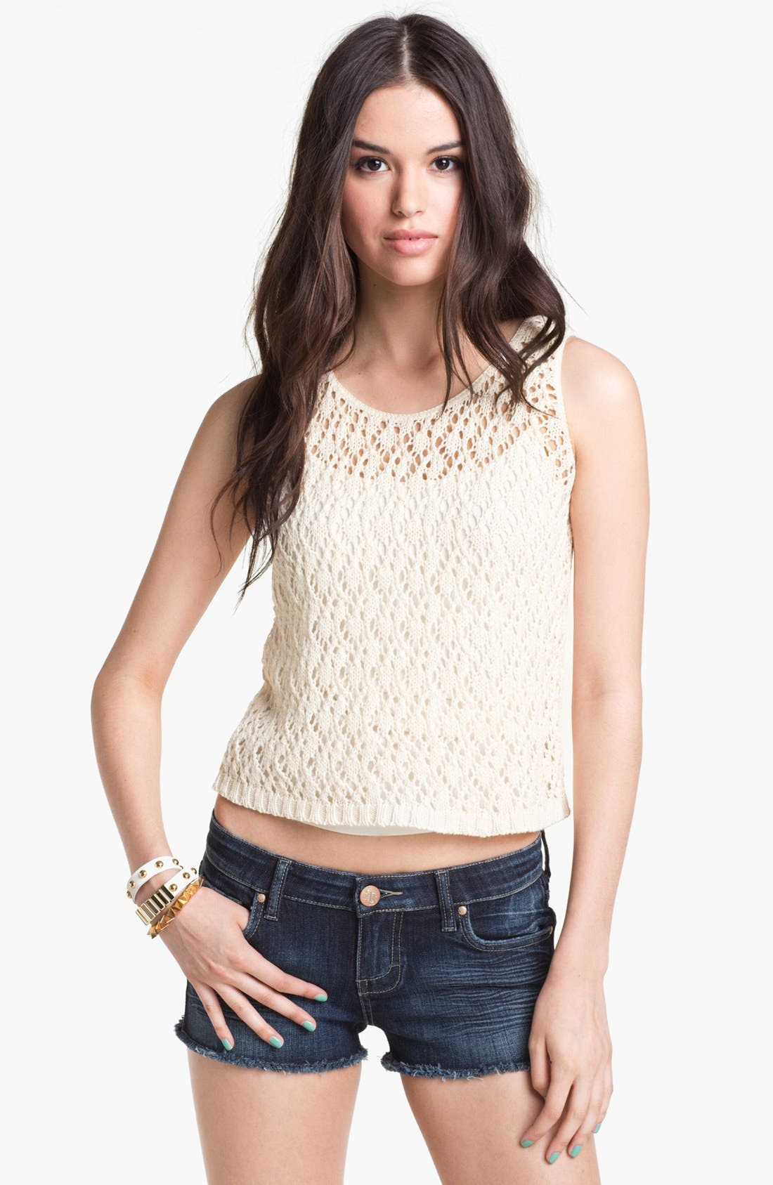 Main Image - Cotton Emporium Crochet Sweater Tank (Juniors)