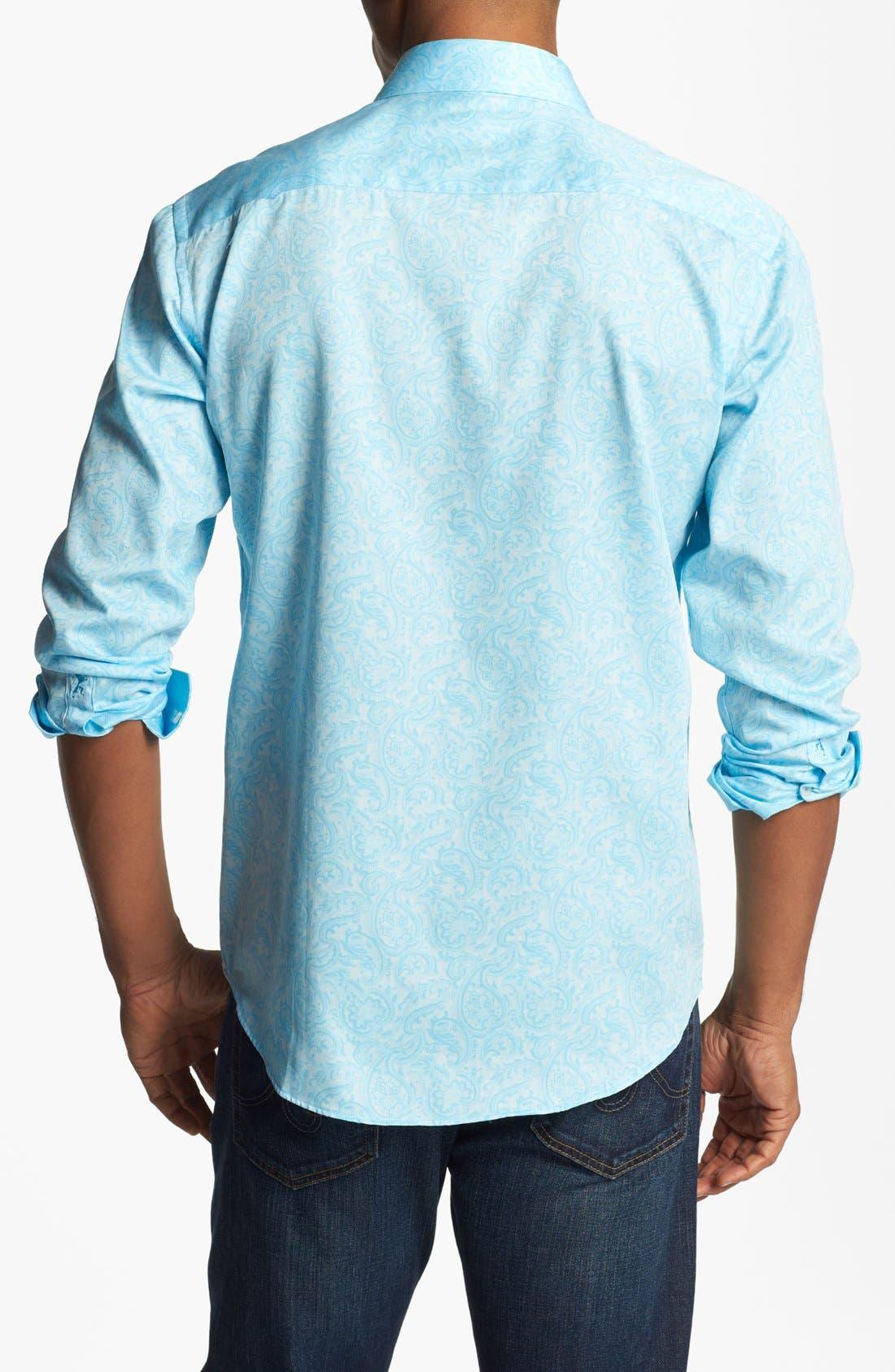 Alternate Image 3  - Bugatchi Paisley Shaped Fit Cotton Sport Shirt