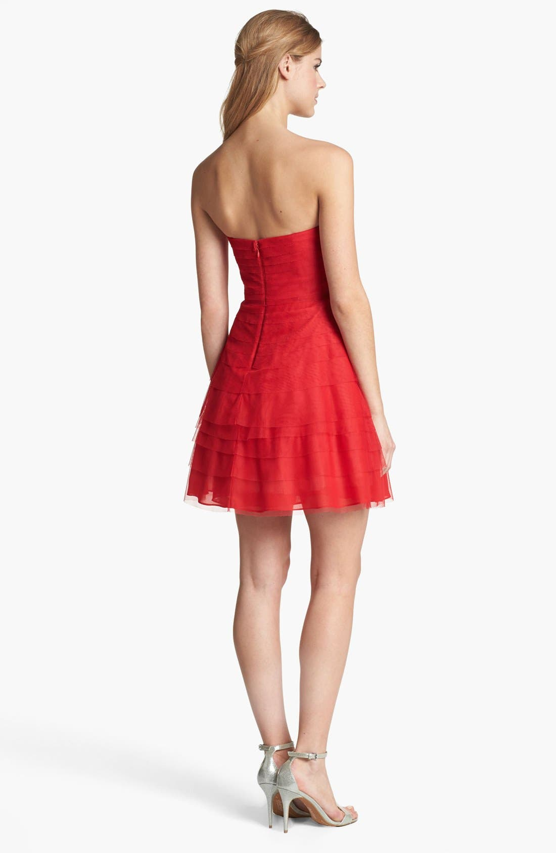 Alternate Image 2  - Adrianna Papell Tiered Mesh Fit & Flare Dress