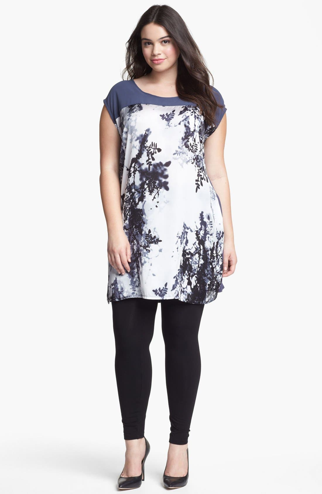 Alternate Image 1 Selected - Evans Print Cap Sleeve Tunic (Plus Size)