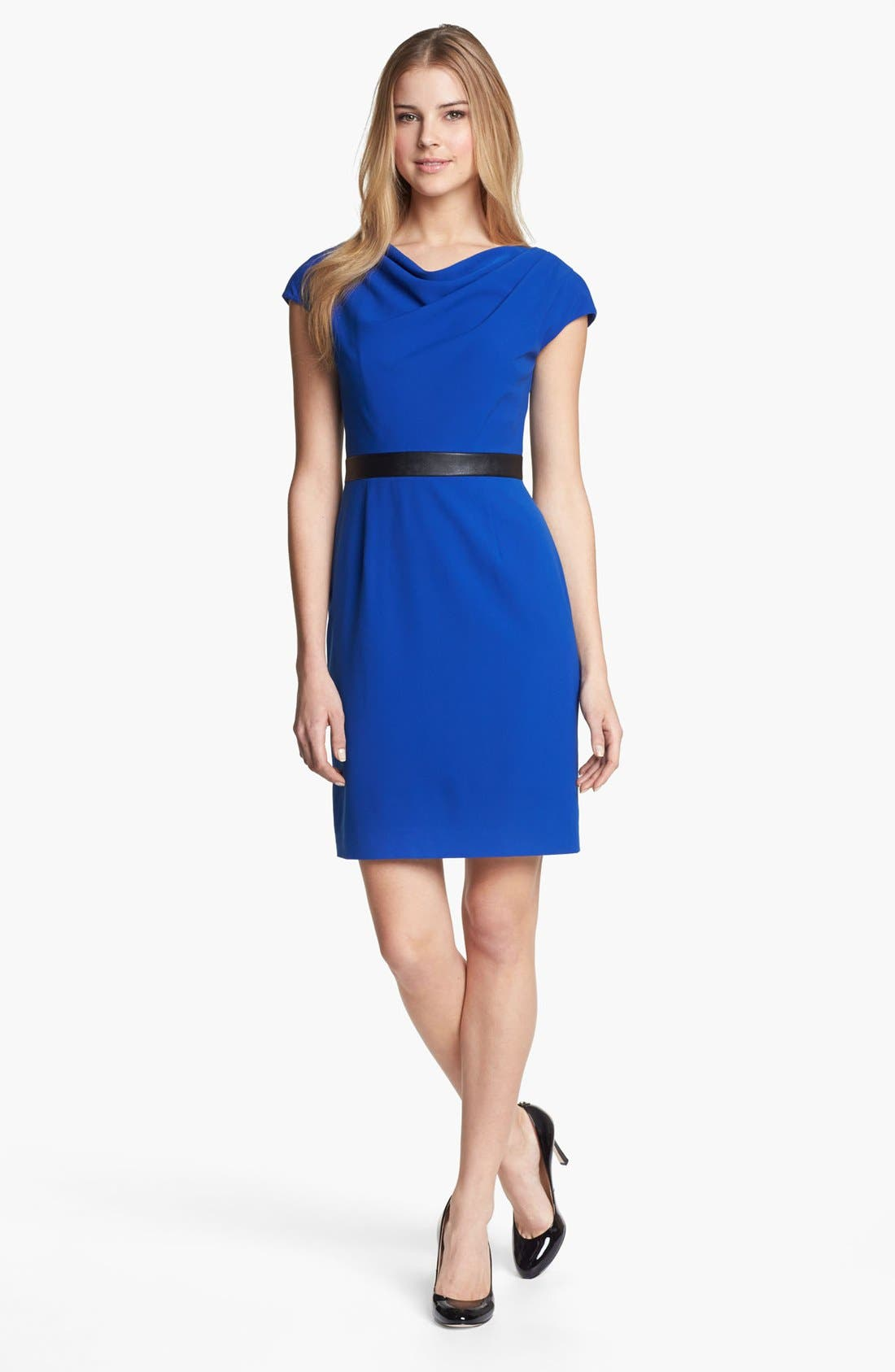 Alternate Image 1 Selected - Adrianna Papell Drape Neck Dress (Regular & Petite) (Online Only)
