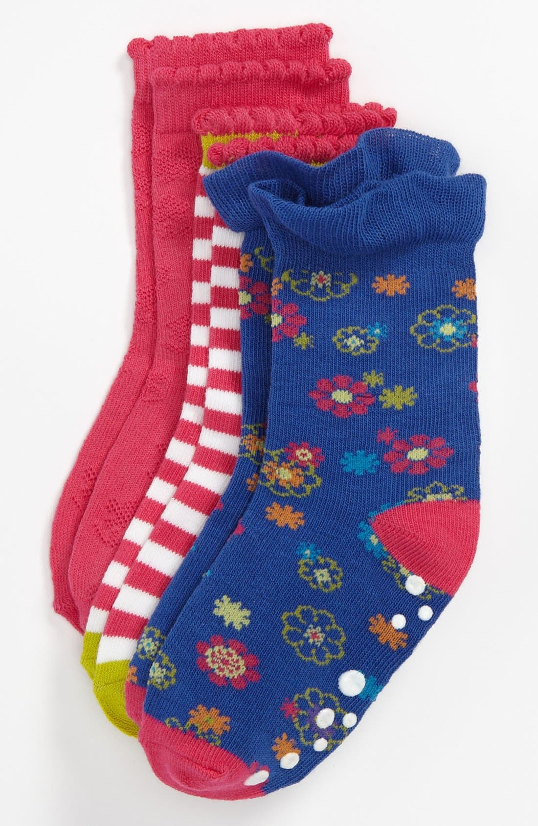 Main Image - Nordstrom 'Mixed Bouquet' Crew Socks (3-Pack) (Toddler & Little Girls)