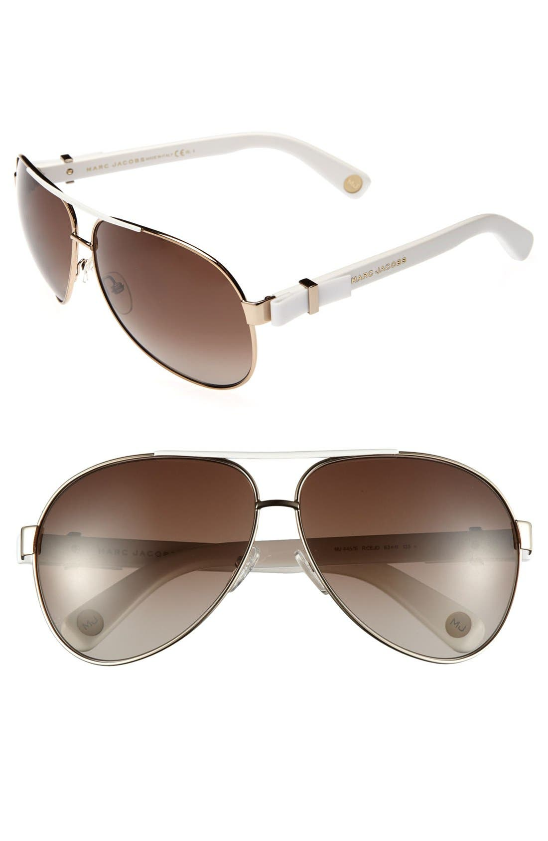 Main Image - MARC JACOBS 63mm Metal Aviator Sunglasses