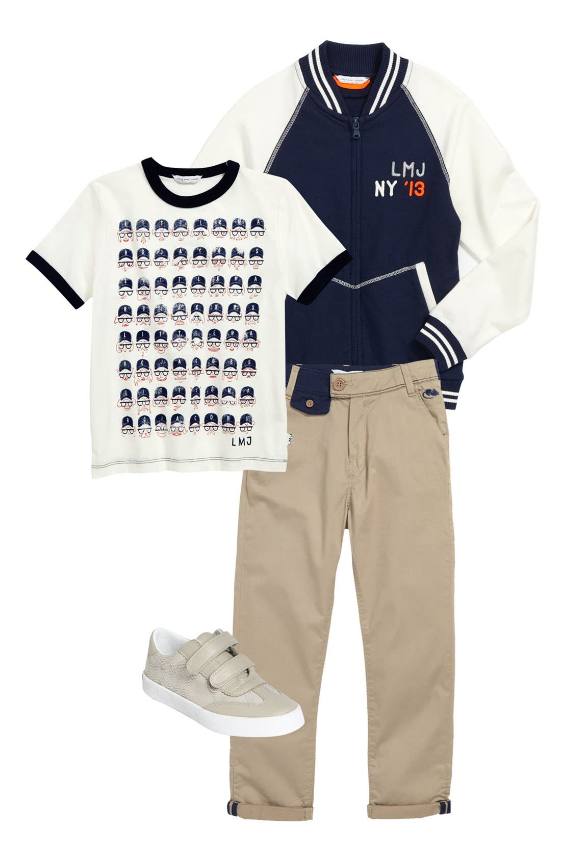 Alternate Image 1 Selected - LITTLE MARC JACOBS T-Shirt, Jacket & Pants & Burberry Sneaker (Big Boys)