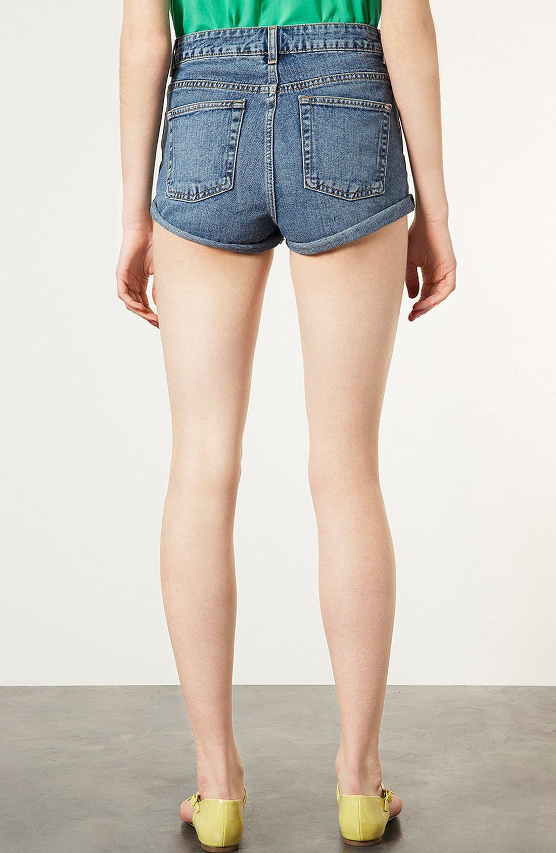 Alternate Image 2  - Topshop Moto 'Dark Vintage Polly' Denim Shorts