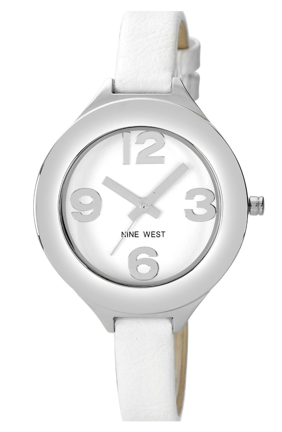 Main Image - Nine West Round Skinny Strap Watch, 36mm