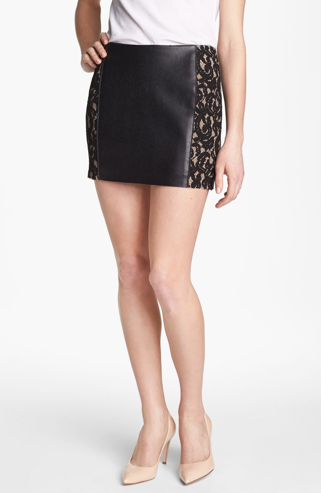 Main Image - Bailey 44 'Sangria' Faux Leather & Lace Trim Miniskirt