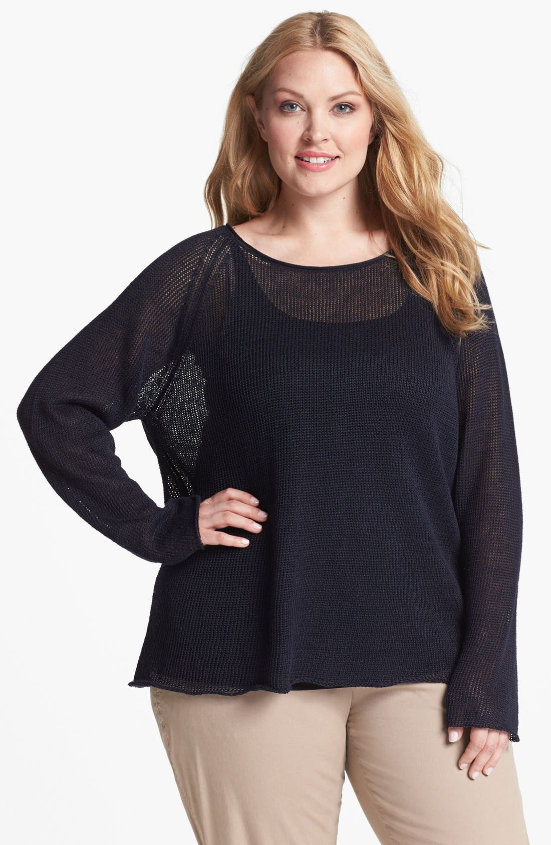 Alternate Image 1 Selected - Eileen Fisher Open Stitch Raglan Sleeve Top (Plus Size)