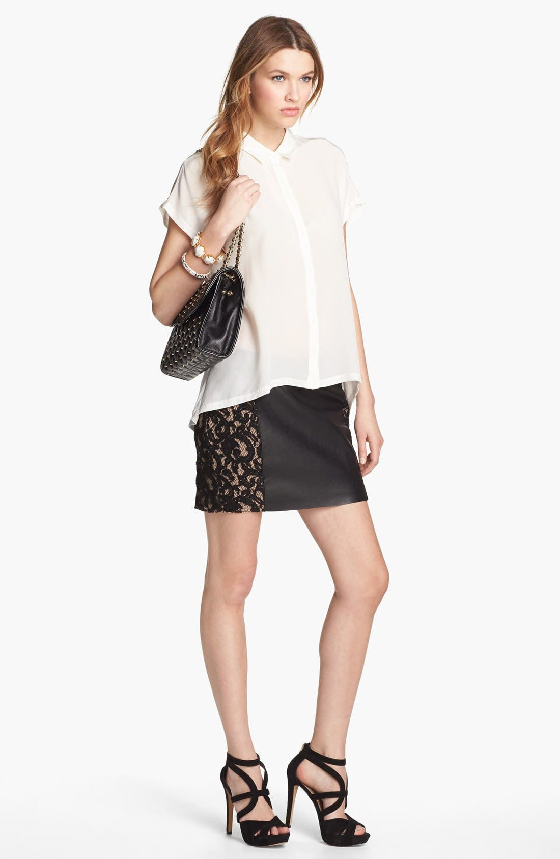 Alternate Image 4  - Bailey 44 'Sangria' Faux Leather & Lace Trim Miniskirt