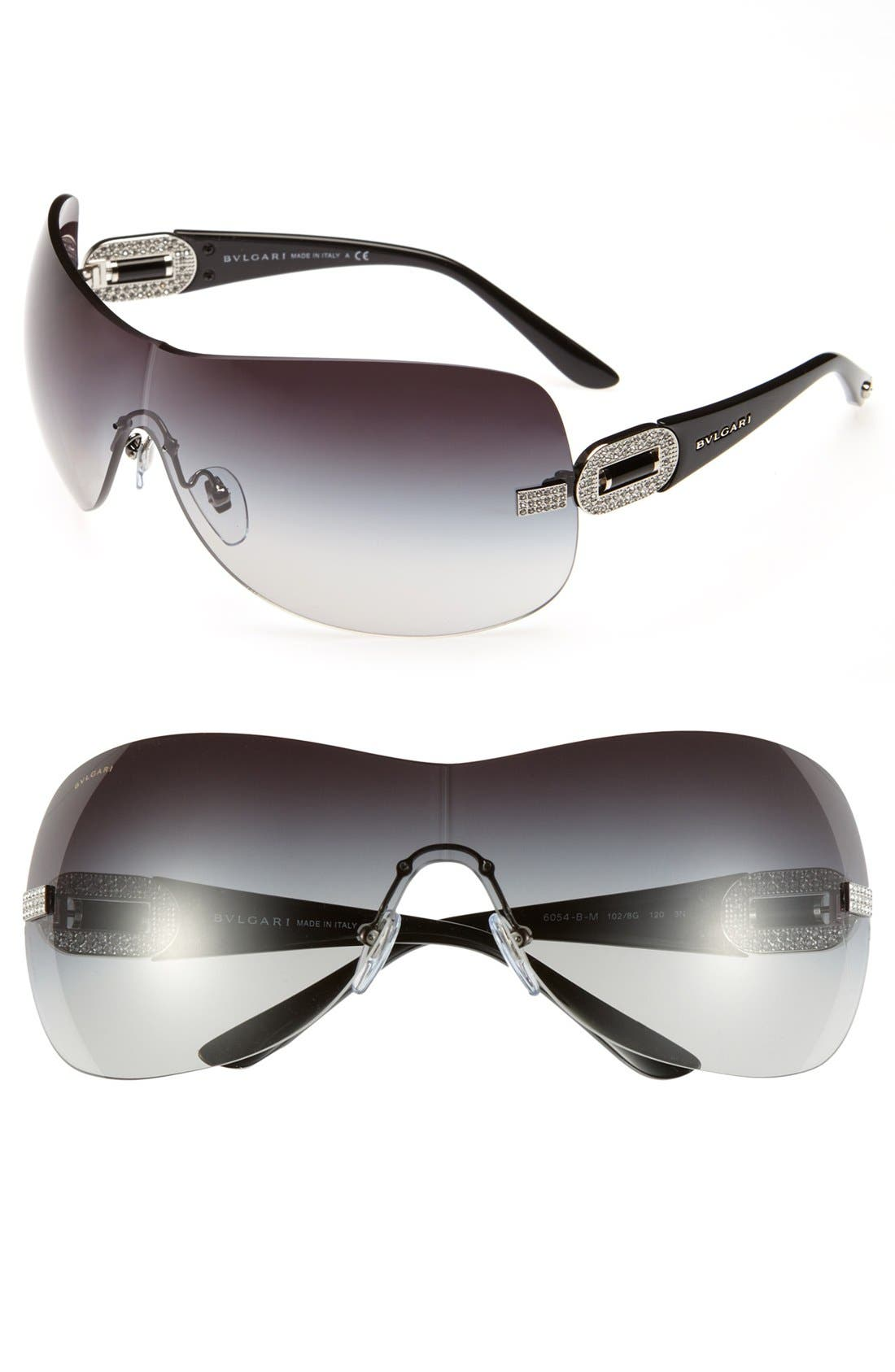 Alternate Image 1 Selected - BVLGARI Embellished Temple Rimless Shield Sunglasses