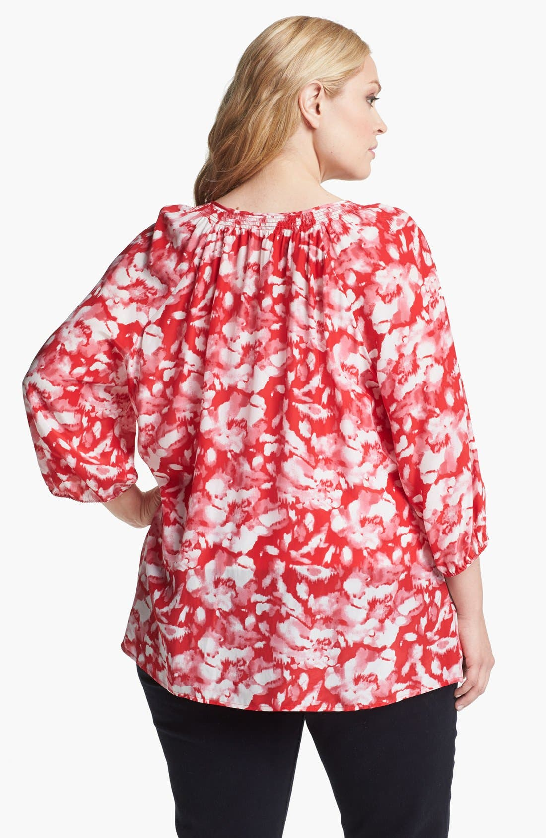 Alternate Image 2  - Sejour Floral Print Smocked Top (Plus Size)
