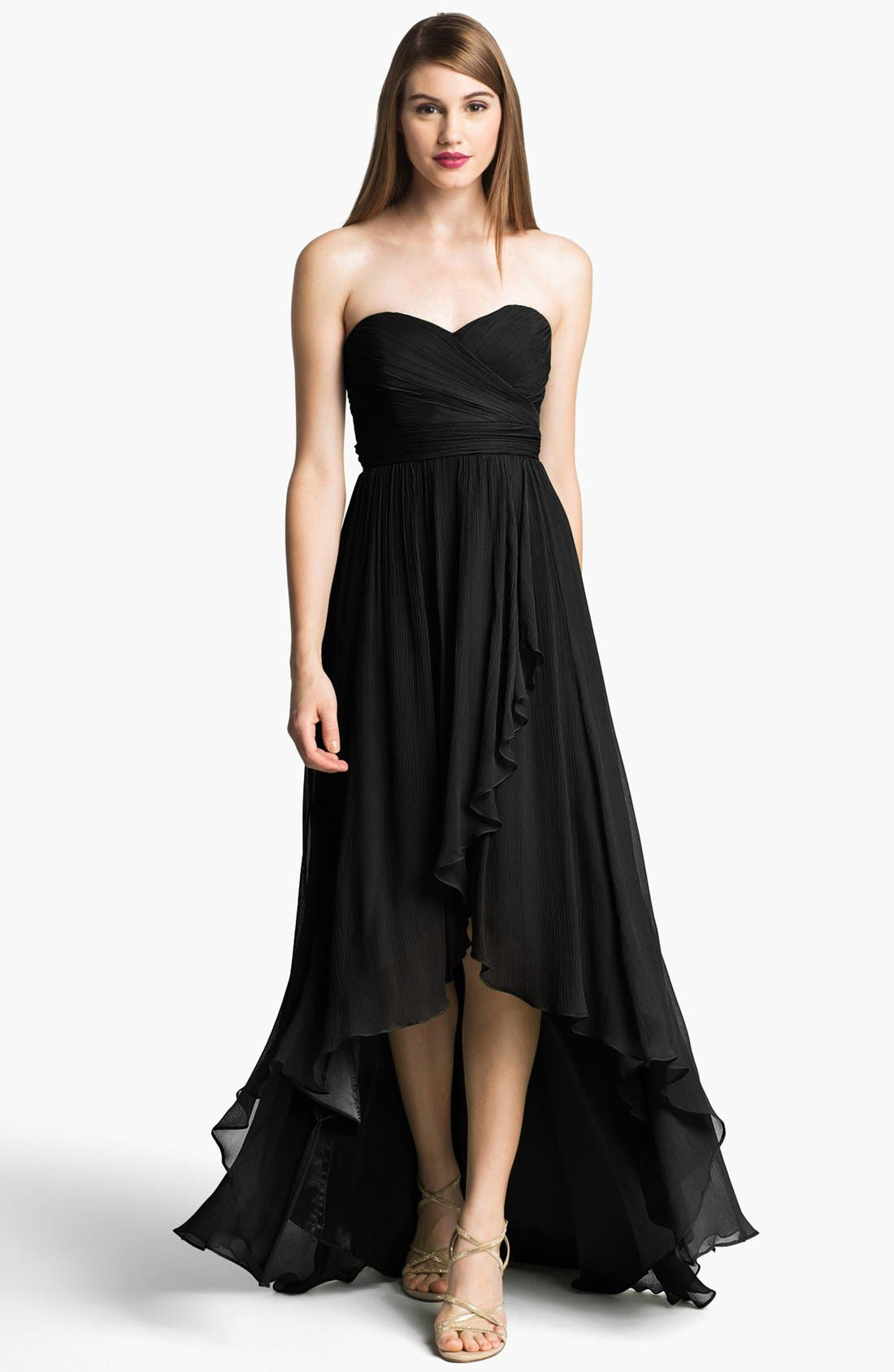 Alternate Image 1 Selected - Jenny Yoo 'Shiloh' Strapless High/Low Silk Chiffon Gown (Online Only)