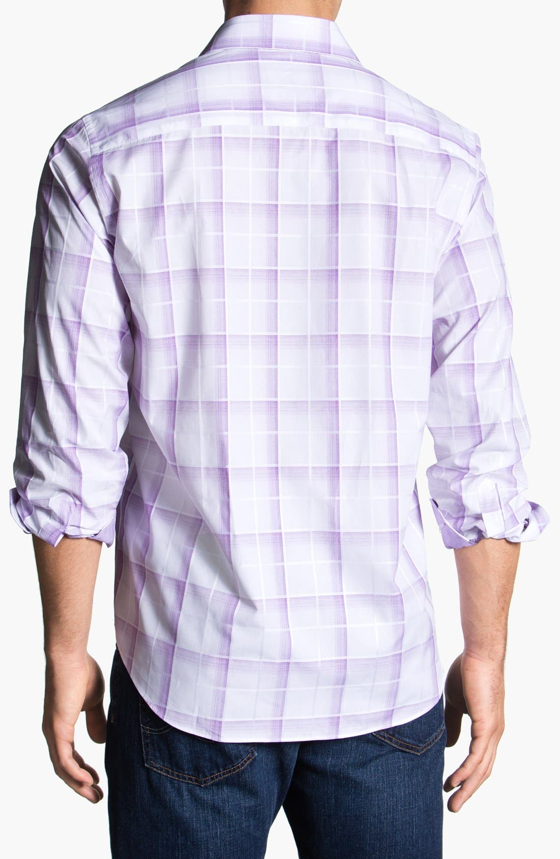 Alternate Image 2  - Bugatchi Check Classic Fit Cotton Sport Shirt (Tall)
