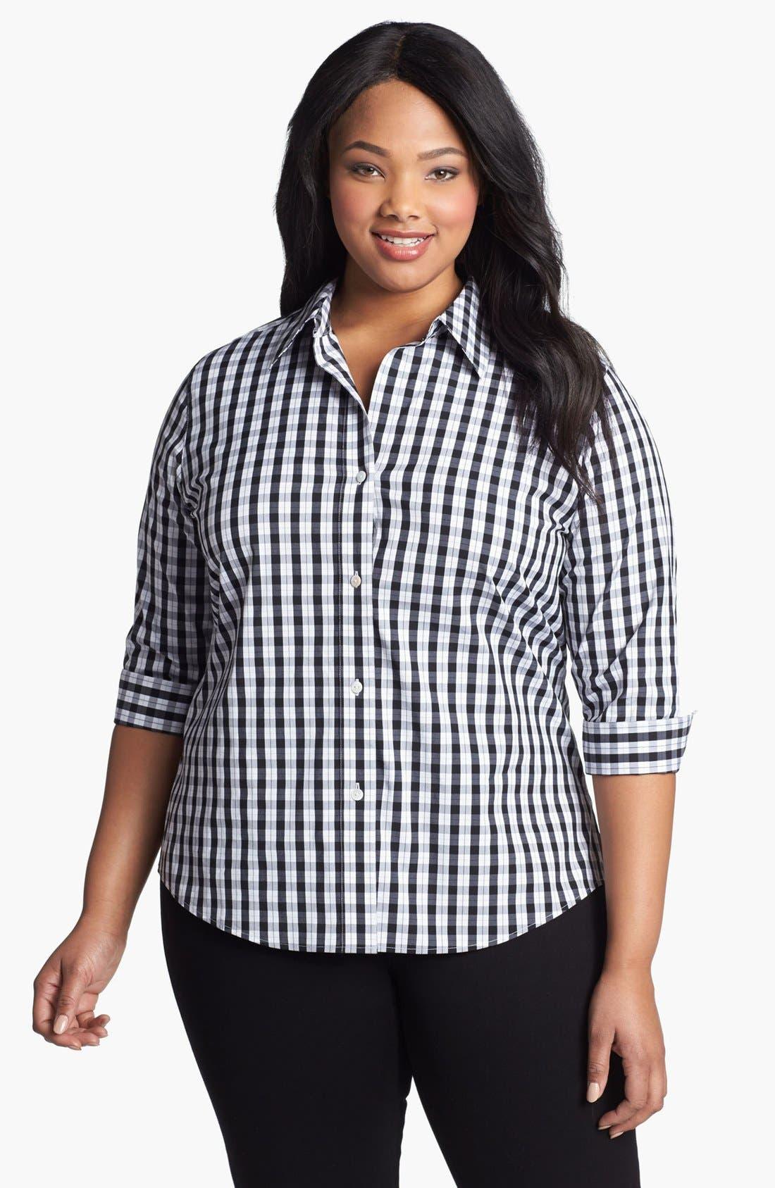 Alternate Image 1 Selected - Foxcroft Print Shaped Shirt (Plus Size)