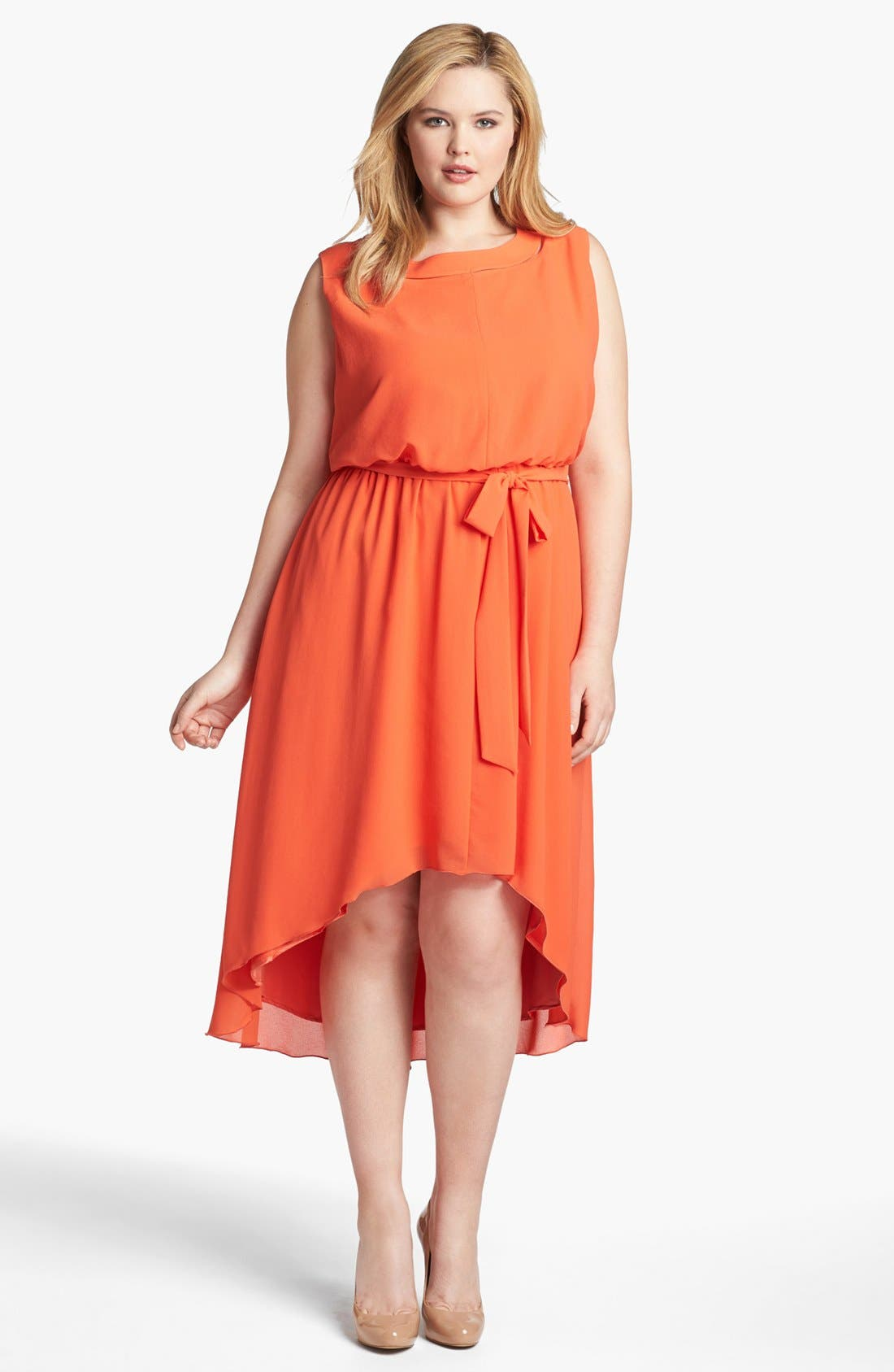 Alternate Image 1 Selected - Jessica Simpson Blouson High/Low Crepe Dress (Plus Size)