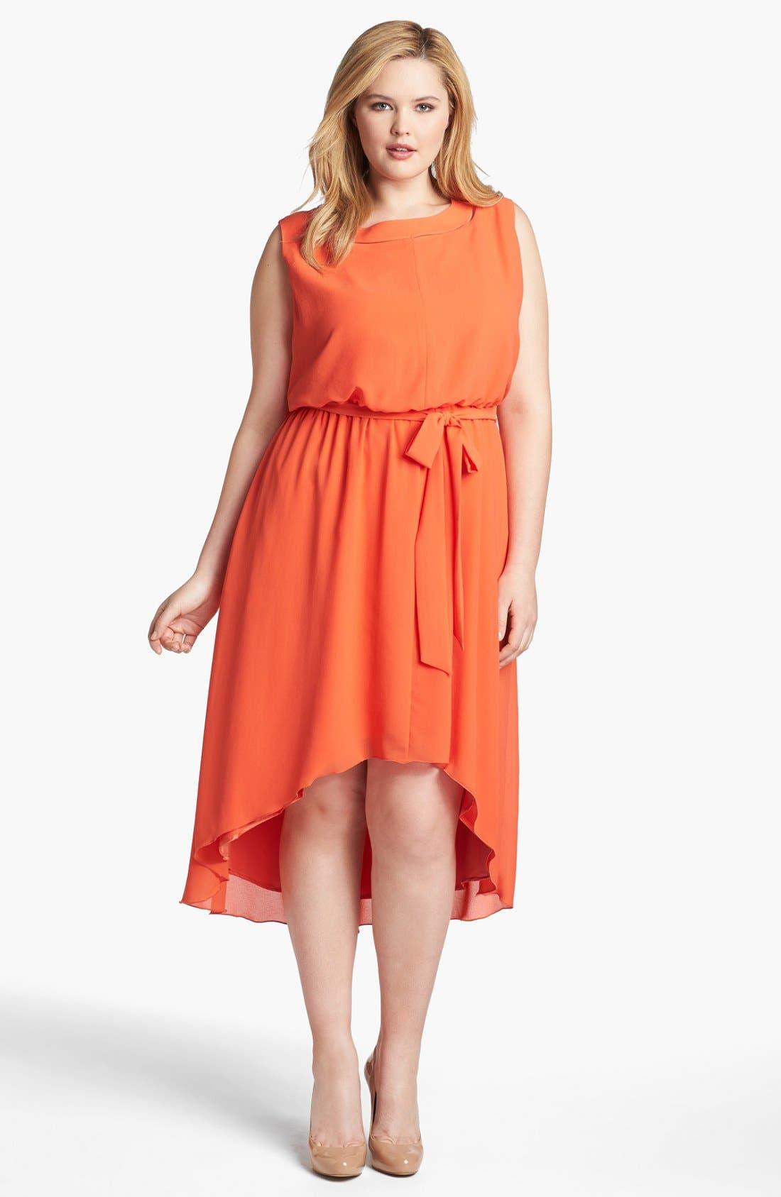 Main Image - Jessica Simpson Blouson High/Low Crepe Dress (Plus Size)