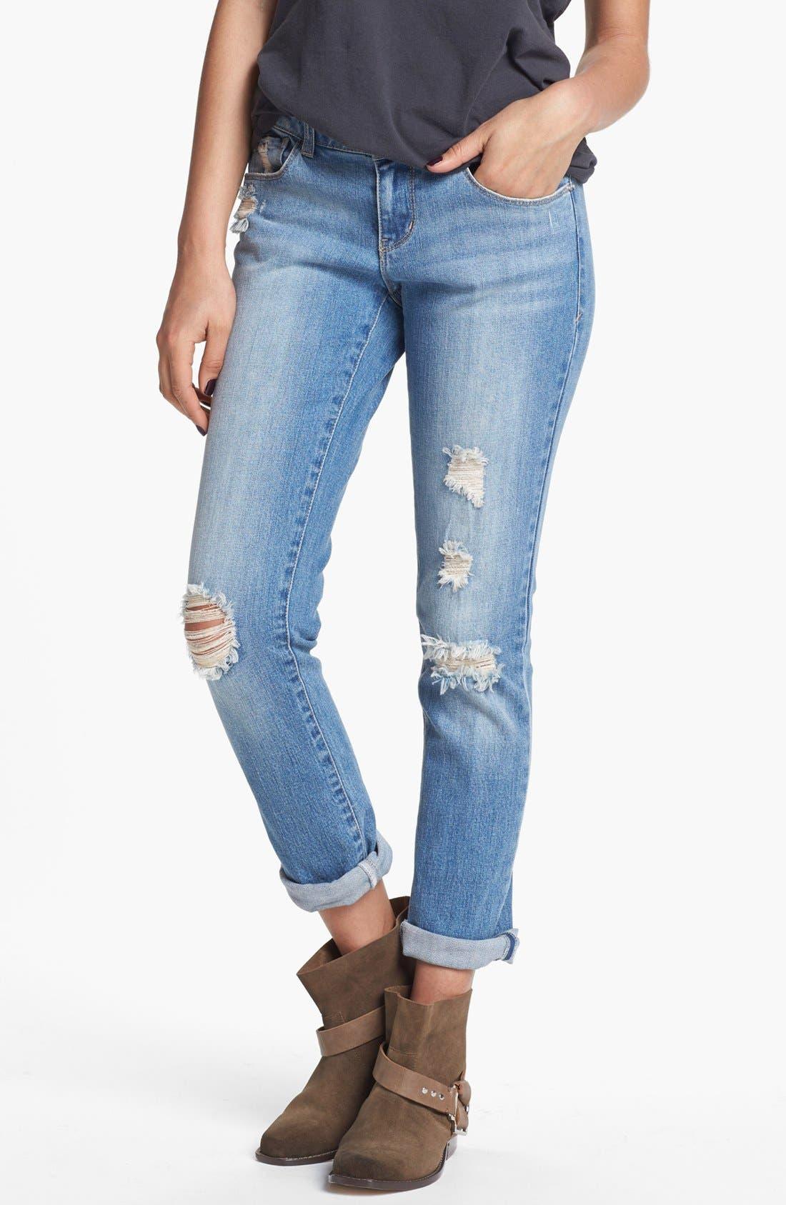 Alternate Image 1 Selected - Jolt Destroyed Boyfriend Skinny Jeans (Medium) (Juniors)