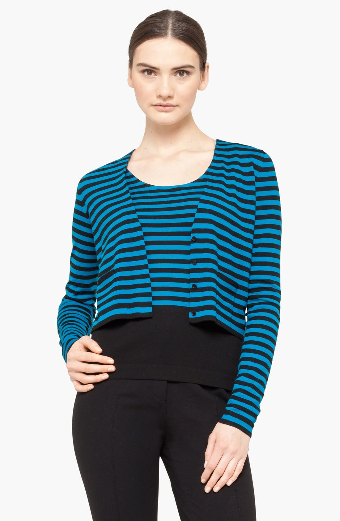 Crop Wool Cardigan,                         Main,                         color, Black/ Lapis
