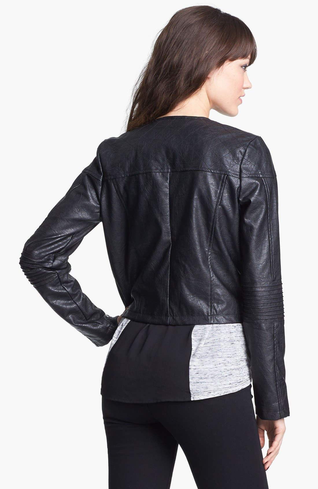 Alternate Image 3  - Jou Jou Studded Faux Leather Crop Moto Jacket (Juniors)