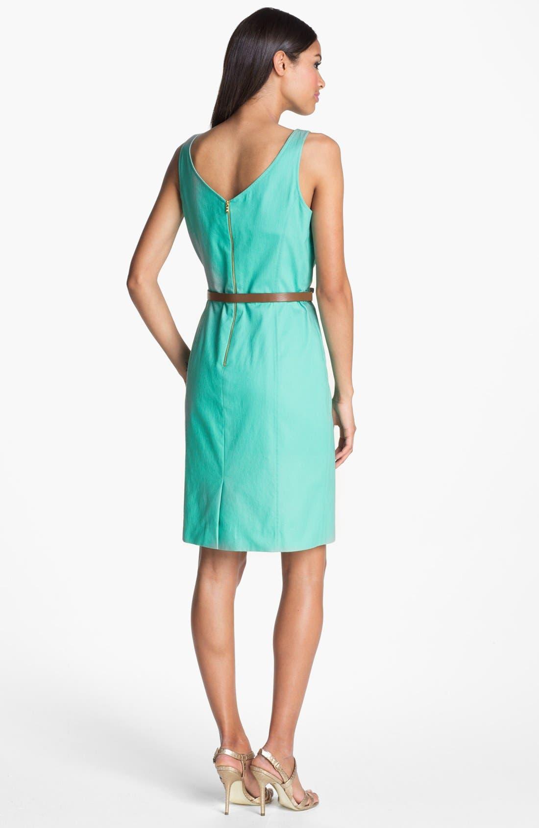 Seamed Sheath Dress,                             Alternate thumbnail 2, color,                             Aqua