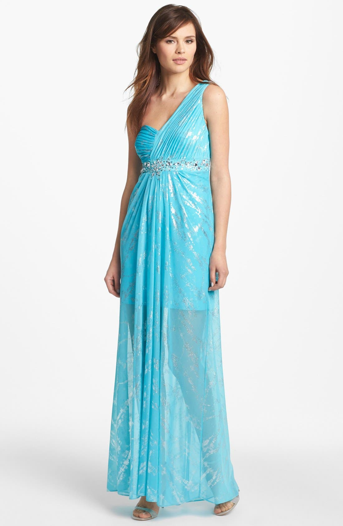 Main Image - Hailey by Adrianna Embellished One Shoulder Foiled Chiffon Gown