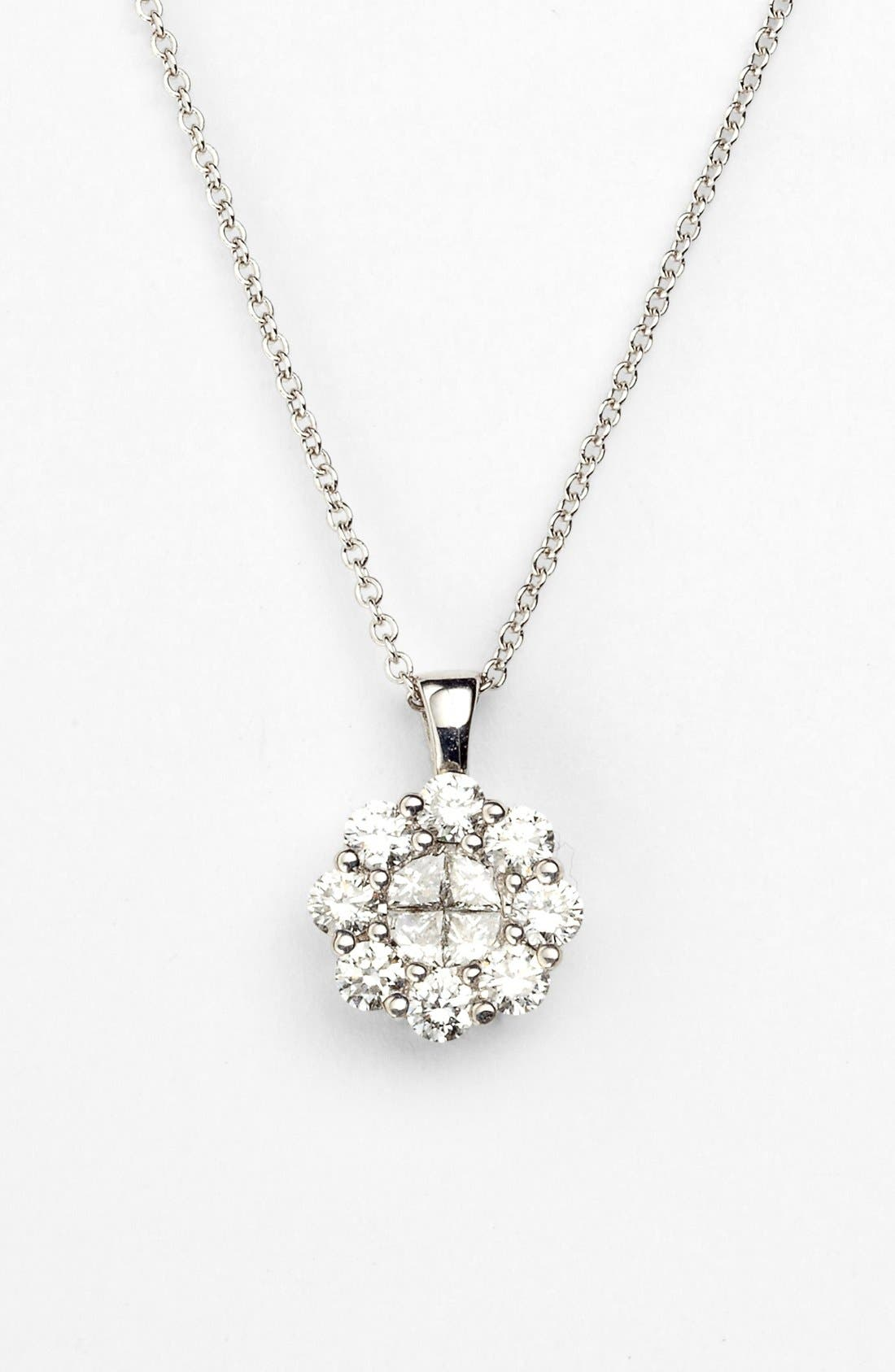 Main Image - Bony Levy Flower Diamond Pendant Necklace (Nordstrom Exclusive)