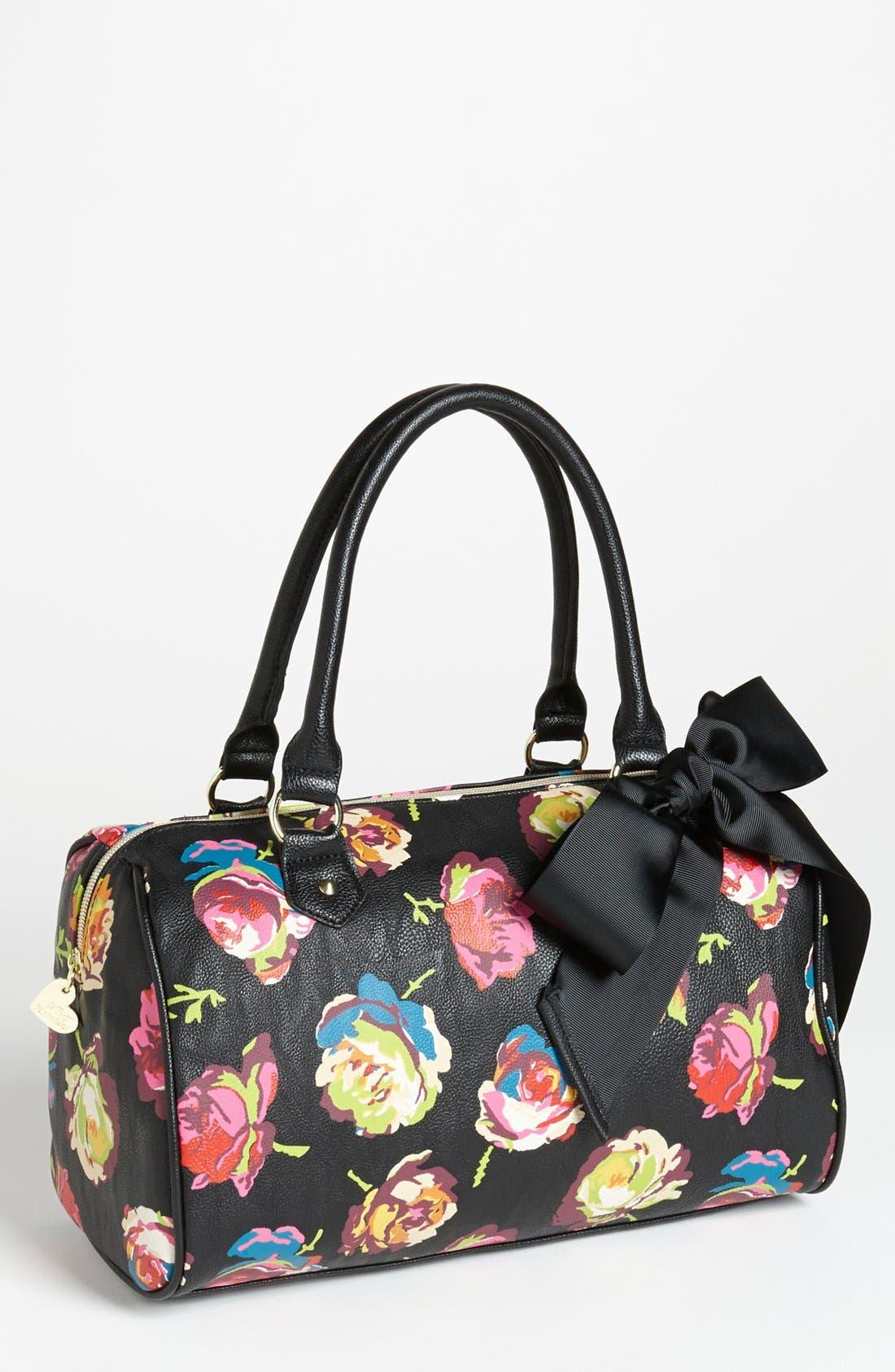 Main Image - Betsey Johnson Faux Leather Floral Satchel